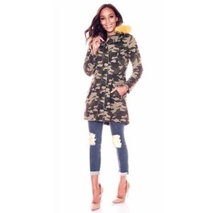 New York & Company Camouflage Faux Fur Jacket
